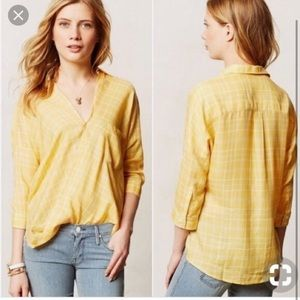 Anthropologie Holding Horses Yellow Plaid Shirt